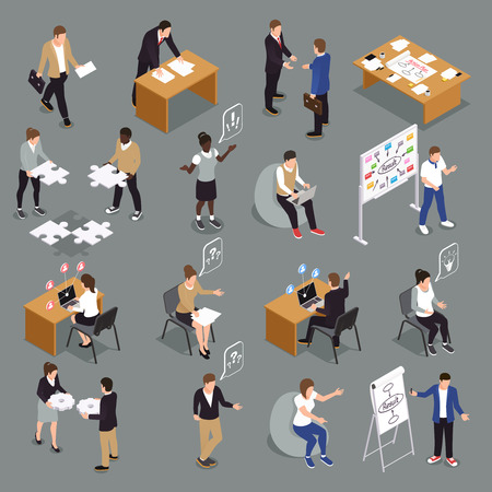 Illustration pour Teamwork efficient collaboration isometric icons collection with interacting unified sharing ideas brainstorming decisions making people vector illustration - image libre de droit