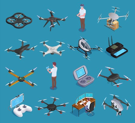 Illustrazione per Drones quadrocopters hexacopters air transportation delivery surveillance with virtual reality remote controllers isometric set isolated vector illustration - Immagini Royalty Free