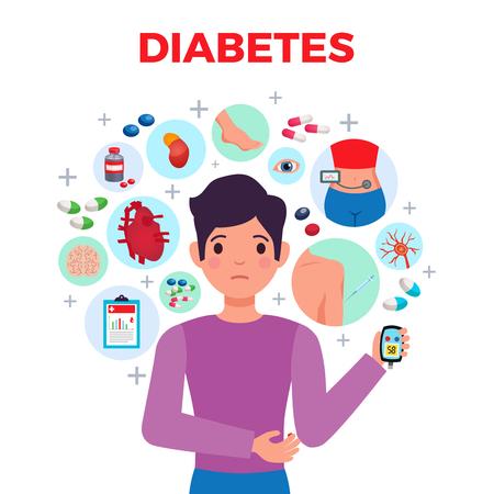 Illustration pour Diabetes flat composition medical poster with patient symptoms complications blood sugar meter treatments and medication vector illustration - image libre de droit