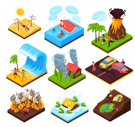 Illustration pour Natural disaster  set of eruption wildfire flood tornado drought tsunami isometric compositions isolated vector illustration - image libre de droit