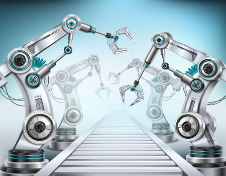 Illustration pour Fully automated production line conveyor system equipped with robotic arms realistic isometric composition light background vector illustration - image libre de droit