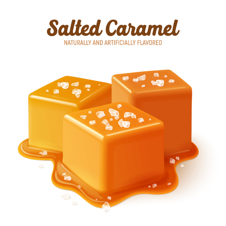 Ilustración de Colored and realistic salted caramel composition with naturally and artificially flavored headline vector illustration - Imagen libre de derechos