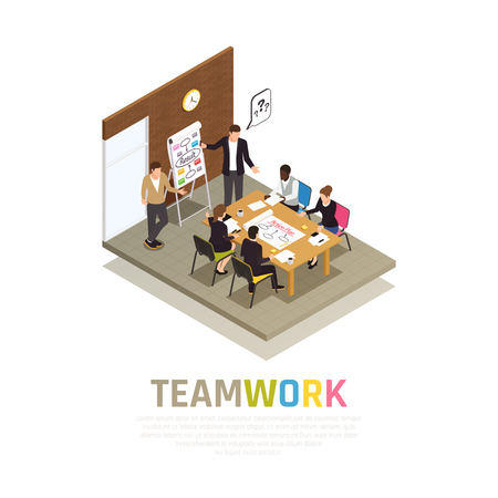 Illustration pour Effective teamwork collaboration isometric composition with project manager holding meeting sharing ideas with working group vector illustration - image libre de droit