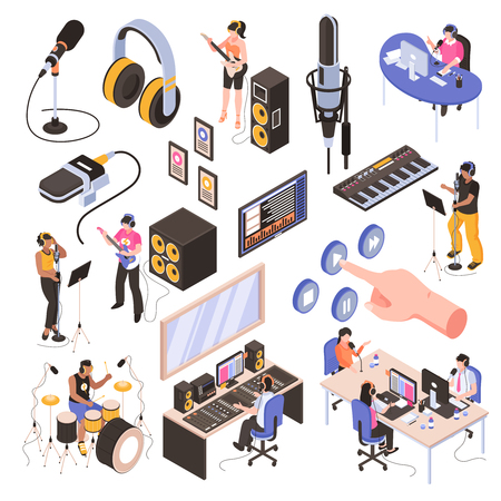 Illustration pour Audio studio isometric set with speakers in  radio room bloggers at work place and musicians recording song isolated vector illustration - image libre de droit