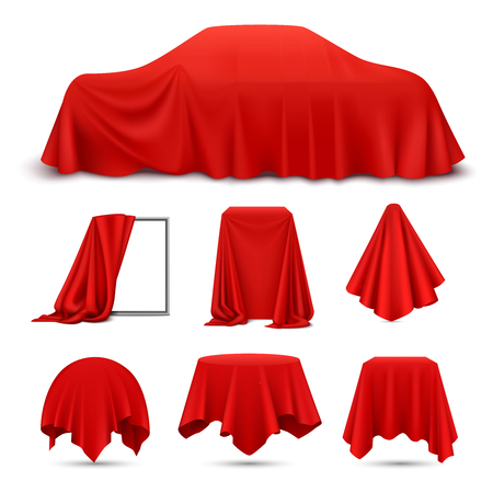 Illustration pour Red silk cloth covered objects realistic set with draped frame car hanging napkin tablecloth curtain vector illustration - image libre de droit
