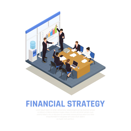 Illustration pour Investment strategies of fund managers isometric composition with financial growth benefits and risks evaluating presentation vector illustration - image libre de droit