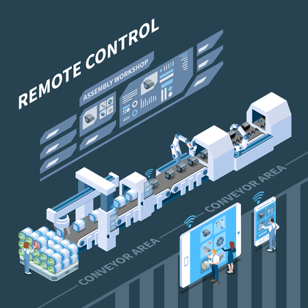 Illustration pour Smart industry isometric composition with remote control of conveyor system on dark background vector illustration - image libre de droit