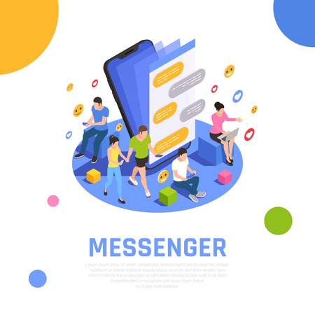 Ilustración de Social media network isometric composition  with messenger applications open on smartphone screen and communicating users vector illustration - Imagen libre de derechos