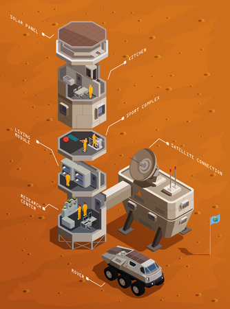 Illustration pour Mars colonization isometric composition with Infrastructure of communication base including residential compartments research center and satellite connection vector illustration - image libre de droit