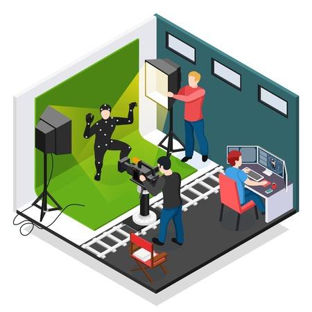 Ilustración de Cinema motion capture isometric composition with actor videographer illuminator and graphic designer during work vector illustration - Imagen libre de derechos