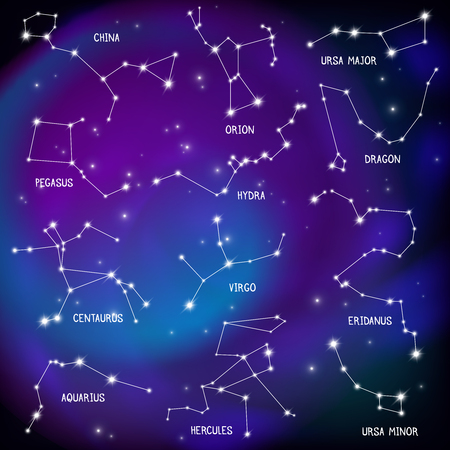 Illustration pour Astronomical celestial sphere constellations night sky stars map purple background scientific educational decorative poster print vector illustration - image libre de droit