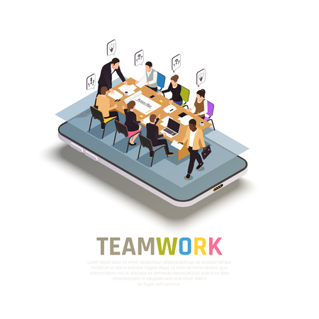 Illustration pour Teamwork collaboration benefits isometric composition on smartphone with group work  sharing ideas making decisions together vector illustration - image libre de droit