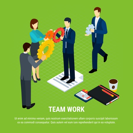 Illustration pour Business people isometric background with human characters of office workers holding gear icons with editable text vector illustration - image libre de droit