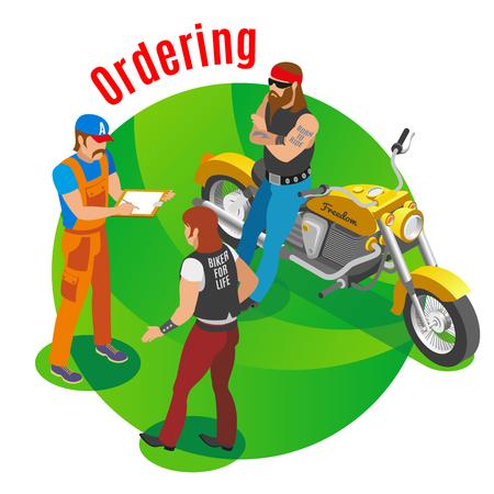 Ilustración de Auto service composition with ordering spare parts  symbols isometric vector illustration - Imagen libre de derechos