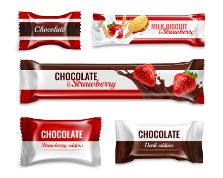Illustration for Chocolate candies and biscuits realistic packaging design set with delicious milk strawberry ingredients colorful isolated vector illustration - Royalty Free Image