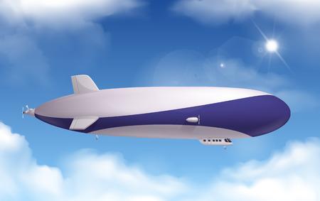 Illustration pour Dirigible transportation realistic background with sky and clouds vector illustration - image libre de droit