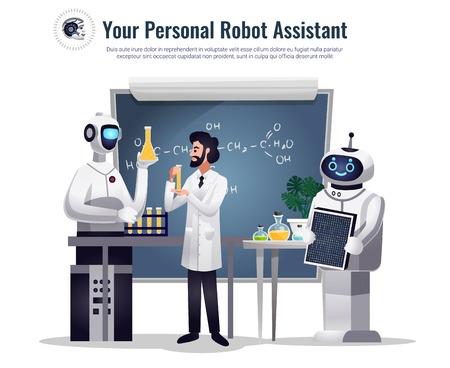 Ilustración de Robots in scientific research flat composition with automated humanoid assistants performing tests in chemical lab vector illustration - Imagen libre de derechos