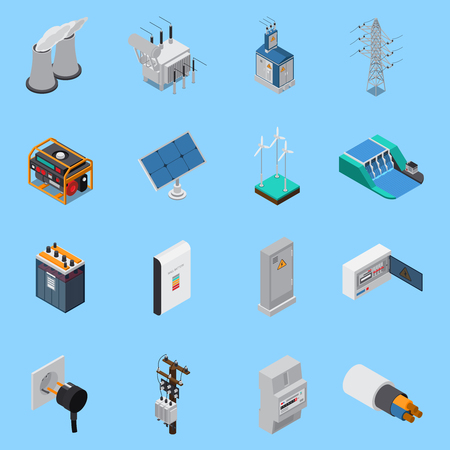 Illustration pour Electricity isometric icons set with cable solar panels wind hydro power generators transformer socket isolated vector illustration - image libre de droit