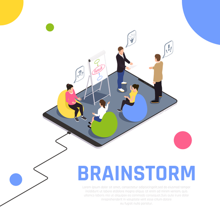 Illustration pour Brainstorming teamwork technique gets team members working together solves problems creates new ideas isometric composition vector illustration - image libre de droit