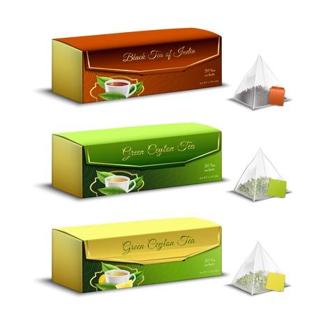 Ilustración de Green black indian and ceylon tea pyramid bags packaging boxes realistic set advertising sale isolated vector illustration - Imagen libre de derechos
