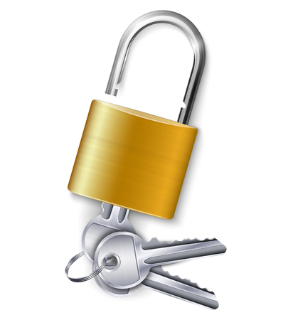 Ilustración de Graceful gold metallic padlock with kit of three keys on white background realistic vector illustration - Imagen libre de derechos