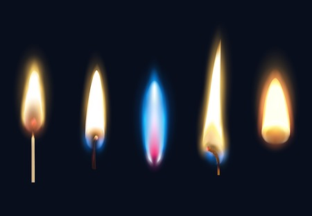 Illustration pour Set of realistic burning flames of matches candles and lighter isolated on black background vector illustration - image libre de droit