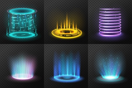 Illustration pour Set of realistic colorful magic portals with light streams on dark transparent background isolated vector illustration - image libre de droit