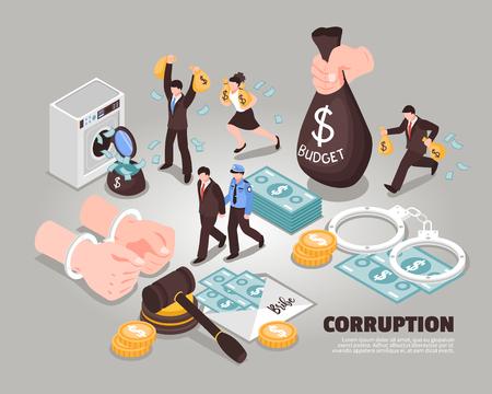 Illustration pour Corruption isometric vector illustration  Included icons symbolizing laundering bribery embezzlement corrupt judge corrupt politician - image libre de droit
