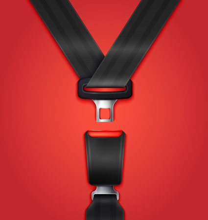 Illustrazione per Realistic unblocked passenger seat belt with fastener and black strap on red background vector illustration - Immagini Royalty Free