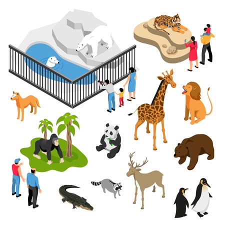 Illustration pour Isometric set of animals and people during visit to zoo on white background isolated vector illustration - image libre de droit
