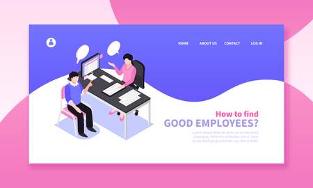 Illustration pour Isometric job search recruitment horizontal banner composition with website page design clickable links and human characters vector illustration - image libre de droit