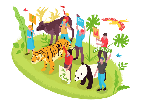 Illustration pour Wildlife protection isometric concept with people nature and animals vector illustration - image libre de droit