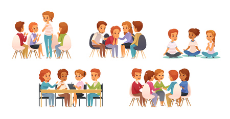 Illustration pour Group therapy cartoon icon set with group of three or four children vector illustration - image libre de droit