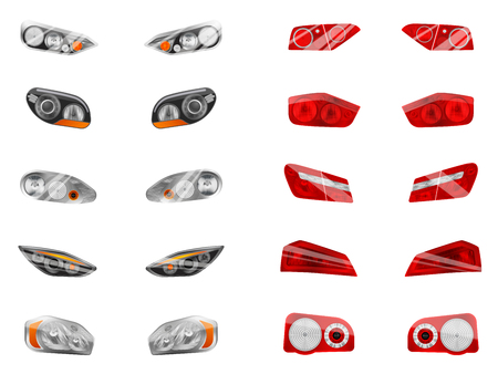 Illustration pour Realistic auto headlights set with twelve isolated images of different car front headlamps and brake lights vector illustration - image libre de droit