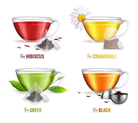 Ilustración de Four square realistic tea brewing bag icon set with hibiscus chamomile green and black tea flavors vector illustration - Imagen libre de derechos