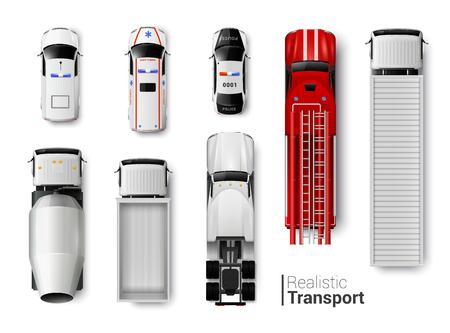 Illustration pour Special vehicles top view realistic set isolated vector illustration - image libre de droit