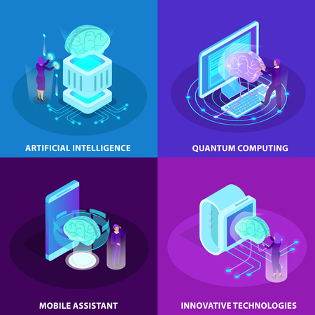 Illustration pour Artificial intelligence 2x2 design concept set of innovative technologies quantum computing mobile assistant isometric glow icons vector illustration - image libre de droit