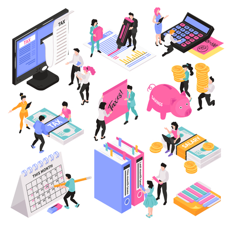 Illustrazione per Isometric accounting set of conceptual images with little people characters and various workspace objects and items vector illustration - Immagini Royalty Free