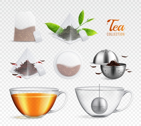 Ilustración de Tea brewing bag realistic transparent icon set with different elements on transparent background vector illustration - Imagen libre de derechos