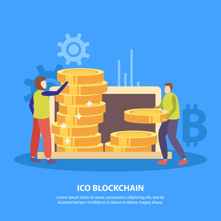 Illustration for ICO initial coins offering flat symbols blue background poster with fund investors piling bitcoin tokens vector illustration - Royalty Free Image
