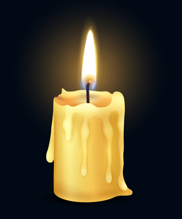 Illustration pour Isolated yellow realistic burning candle flame fire light composition in the dark vector illustration - image libre de droit