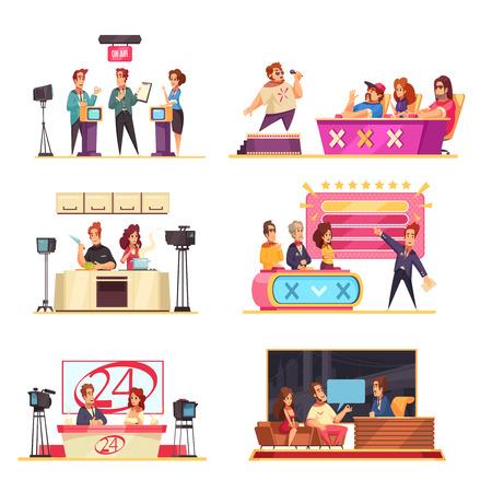 Illustration pour Television game show 6 cartoon compositions with hosts contestants solving puzzles answering questions singer jury vector illustration - image libre de droit