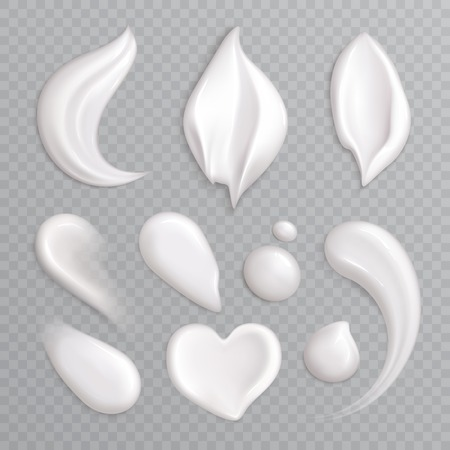 Ilustración de Cosmetic cream smears realistic icon set with white isolated elements different shapes and sizes vector illustration - Imagen libre de derechos