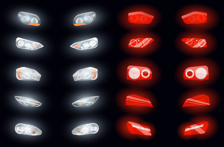 Ilustración de Set of ten realistic auto headlights and ten glowing brake lights isolated images on dark background vector illustration - Imagen libre de derechos