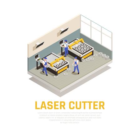 Illustration pour Industrial machinery composition with laser cutter symbols isometric vector illustration - image libre de droit