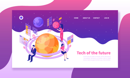 Illustration pour Isometric horizontal banner with people using future technologies on colorful background 3d vector illustration - image libre de droit
