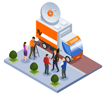 Illustration pour Broadcast telecommunication isometric composition television van and shooting team working outdoors vector illustration - image libre de droit