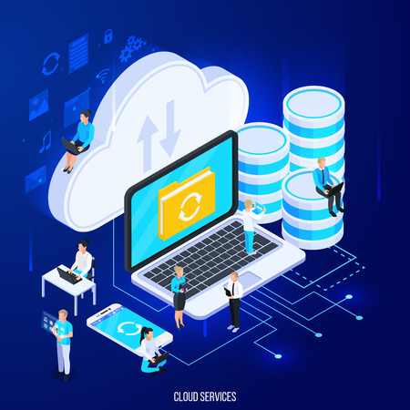 Illustration pour Cloud services isometric composition with flat silhouette pictograms and big icons of cloud storage with people vector illustration - image libre de droit