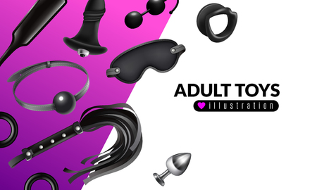 Illustration pour Adult toys illustration with fetish stuff for role playing and bdsm set realistic vector illustration - image libre de droit