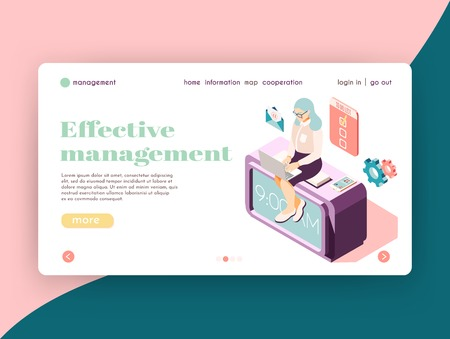 Illustration pour Effective management isometric landing page website design with female character at work icons and clickable links vector illustration - image libre de droit